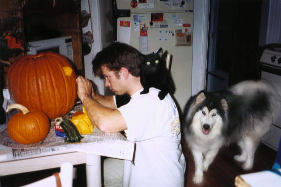 While Mike carves a pumpkin with a black cat on his shoulder, River looks on